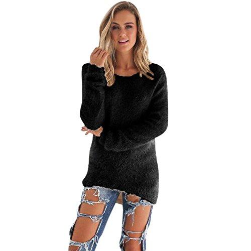 Kleidung T-Shirt Damen Sunday Warme Beiläufige Feste Langarm Pullover Strickjacke Bunt Bluse (XL, Schwarz)