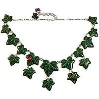COLLANA EDERA 01 - realizzata artigianalmente con foglie di edera serigrafate e una coccinella.