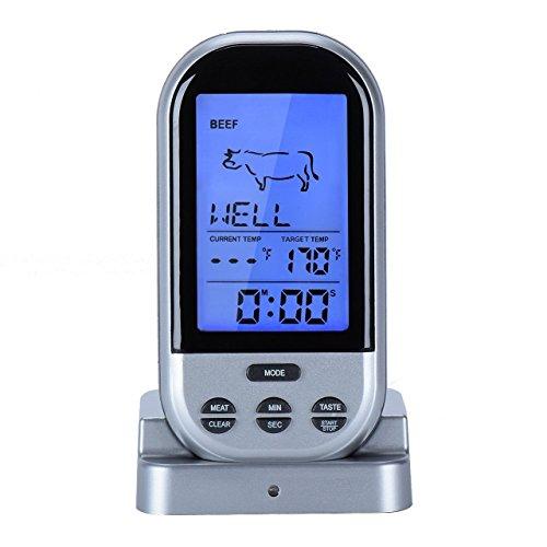 Digitale Termometro per alimenti, carne Sonda termometro per alimenti con timer calendario e funzione di allarme remoto wireless kingcenton per barbecue Smoker o forno cottura conto alla rovescia Timer da cucina-1Sonde in acciaio inox inclusi