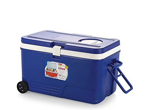 Aristo Insulated Chiller Ice Box 60 Liters Capacity For Easy Access With Long Handle,Wheels,Vent Lid and Tap (RED/BLUE) Color May Vary