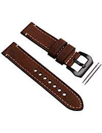 Orologio da polso Banda Buckle nero cinturino Cinturino 22 millimetri Brown Genuine Leather