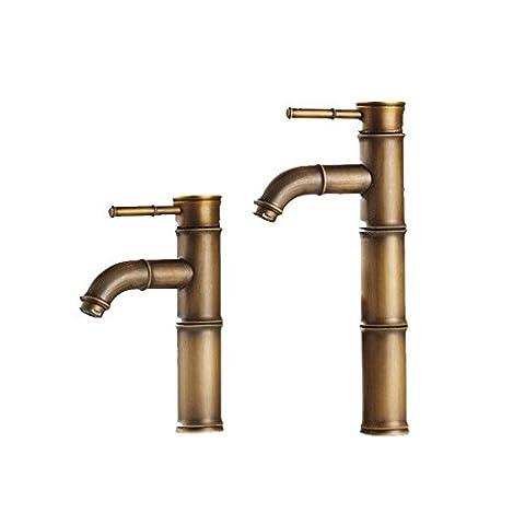 HTYQ robinet de cuivre antique de style européen en bambou seul trou bassin robinet chaud et froid . sections