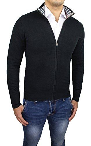 Maglione cardigan uomo nero slim fit aderente maglia maglioncino invernale casual fantasia scozzese (M)