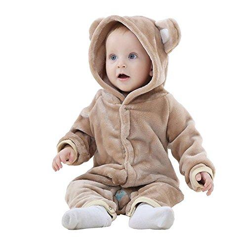 MICHLEY Baby Mädchen und Jungen Bär Stil Overall Herbst & Winter Strampler Kleidung Brown-90