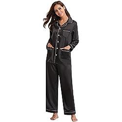 Aibrou Kimono Pijamas Mujer Saten Seda con 5 Bolsillos,Suave,Cómodo,Sedoso y Agradable