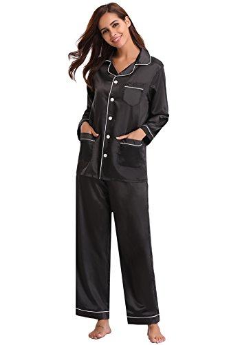 Aibrou pigiama donna in raso 2 pezzi con bottoni, set pigiama da donna maniche lunghe in seta, camicia da notte sleepwear lungo per tutte le stagioni