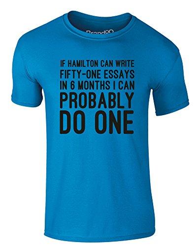 Brand88 - Essay Writer, Erwachsene Gedrucktes T-Shirt Azurblau/Schwarz
