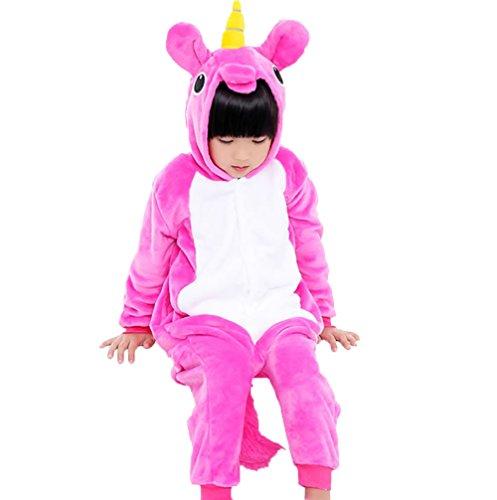 Kostüm Einhorn Hot - Einhorn Kostüm Pyjama Kinder Tier Karton Kigurumi Cosplay Onesize Pyjamas (hot pink, XXL(Geeignet für 135cm-145cm Höhe))