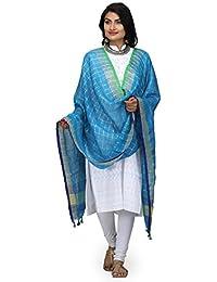 The Weave Traveller Handloom Hand Woven Linen Zari Check Dupatta