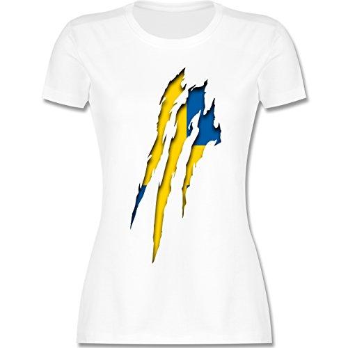 Shirtracer Länder - Schweden Krallenspuren - Damen T-Shirt Rundhals Weiß