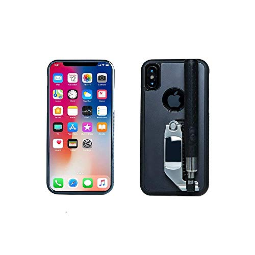 "Tianhaixing iPhone X Funda con Selfie Sticks Wire Remote Control Funda Extensible Selfie Sticks para Apple 5.8"" Pulgadas iPhone X (iPhone X, Negro)"