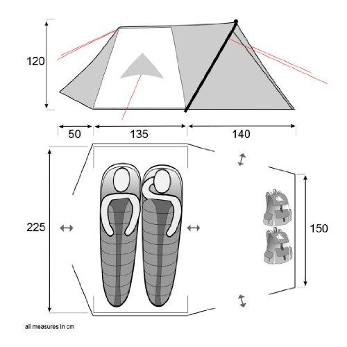 10T Silicone Biker – 2-Personen Touren-Geodät-Zelt mit großer Apsis silikonisiert Alu-Gestänge Packmaß ø18×45 WS=5000mm - 2