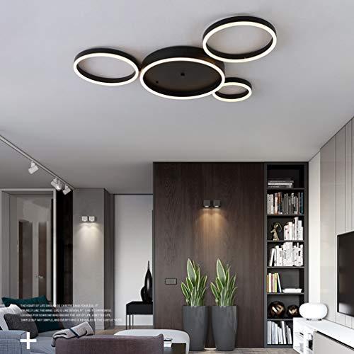 Modern LED Übergroß Deckenleuchte 4 Ringe Design LED Lampe Matt Schwarz Deckenlampe Kreative Wohnzimmerlampe Deckenlicht für Wohnzimmer Büro Kinderzimmer Bürodeckenleuchten,3leveldimming