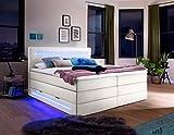 lifestyle4living Boxspringbett 180x200, wei , Kunstleder Entspannter schlafen auf dem Doppelbett komplett mit Bettkasten, LED Beleuchtung, Topper und Kopfteil