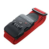Travel Inspira 2m/78 Luggage Security Strap with TSA Approved Password Lock, Travel Suitcase Safty Belt in Red