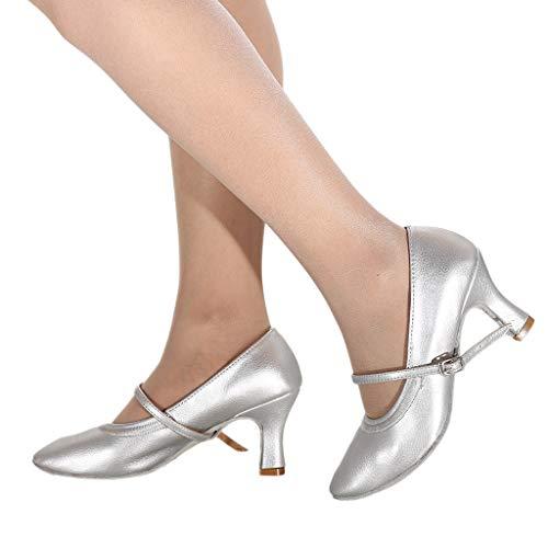 TianWlio Ballerinas Damen Mode Tanzen Modern Dance Ballsaal Latin Dance Weiche Untere Sandalen Schuh Silber 35