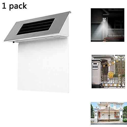 HEGUAN Solar-Türschild-Lampe, Edelstahl-Solar-LED-Hausnummer-Adressen-Zeichen-Türschild-Haus im Freien, das Lichter dekorative Plaketten-Tür anzeigt (Für Häuser Adresse Zeichen)