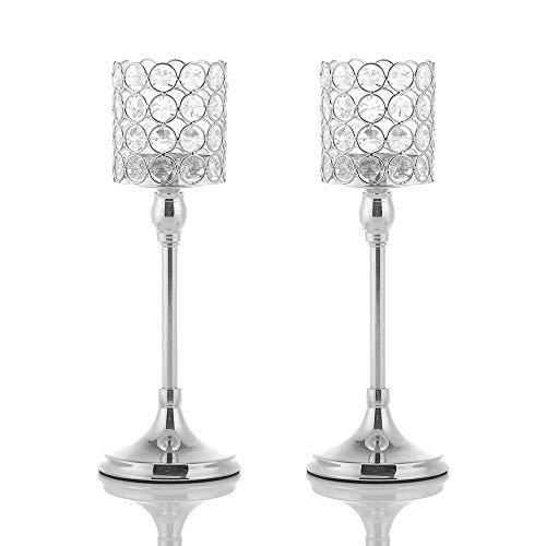 30 cm Hoch Silber Kristall Zylinder Kerzenhalter Set von 2 für Jubiläum Feier Tabelle Mittelstücke ()