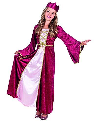Nerds Kinder Kostüm Mädchen - Nerd Clear Königin Kostüm für Mädchen | 2-teilig: Kleid & Krone | Prinzessin oder Renaissance Queen| ideal für Karneval & Fasching: Größe: 4-6 Jahre