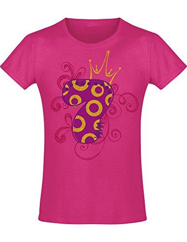 Shirt: 7 Jahre mit Krone Kinder - Geburtstags T-Shirt 7 Jahre Kind Mädchen - Geschenk Zum 7. Geburtstag - Mädchen T-Shirt 4 Geburtstag - Geburtstag-Shirt Kinder 7 (140 (9-10 - Geburtstags-shirt 7.