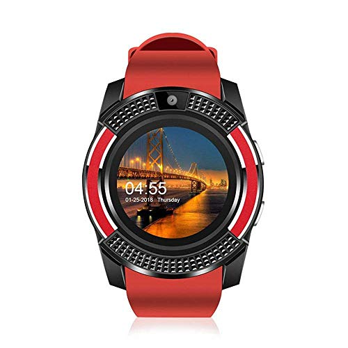 E-CHENG Bluetooth Smart Watch,Touch Screen Wrist Watch with Camera/SIM Card Slot,Waterproof Pedometer Sedentary Reminder Sleep Sports Fitness Tracker for iPhone Android Samsung Men Women (Red) Touch-screen-bluetooth