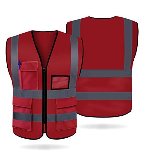 Artudatech Warnweste, Atmungsaktiv Warnwesten Unisex Hohe Sichtbarkeit Pannenweste mit 5 Taschen und Reißverschluss, Knitterfrei, Waschbar, 360° Reflektierend, XL Rot - Personal-reißverschluss