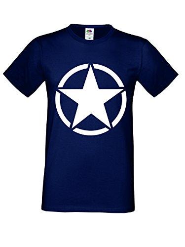 Herren Shirt Stern Herren T-Shirt Gr S-XXXL Navy-Weiß