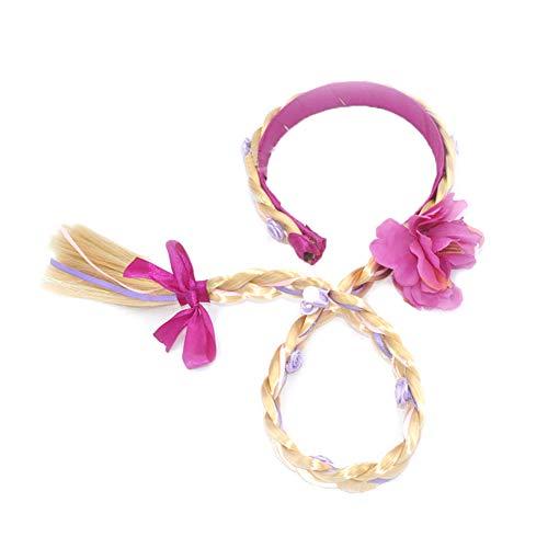 YiGo 1PC Niños Postizo Princesa Peluca Larga De Cosplay De La Peluca Trenzada De Hairband De Vestir Accesorios Trenzado para Niños Chicas (Púrpura)