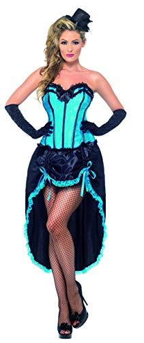 Luxuspiraten - Damen Frauen burlesques Cancan Tänzerinnen Kostüm mit Korsett und Rock, perfekt für Karneval, Fasching und Fastnacht, M, Blau