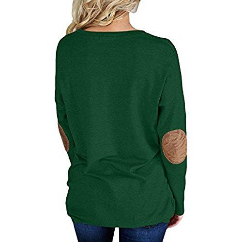 LEvifun Donna Magliette Manica Casuale Lunga Camicetta O-Collo Gomito Patchwork Tunica Pullover T-Shirt Maglia Blusa Verde