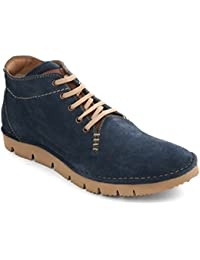 tZaro Blue SudZig Genuine Leather Ankle Boots