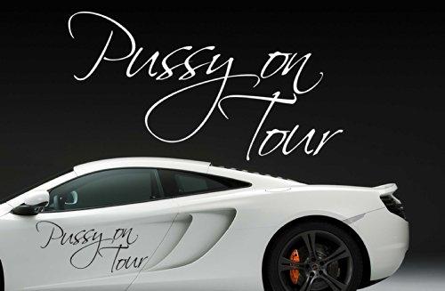 Z398'pussy on tour'-adesivo per auto scritta frasi divertente lunotto posteriore motor aspirante tattoo tuning