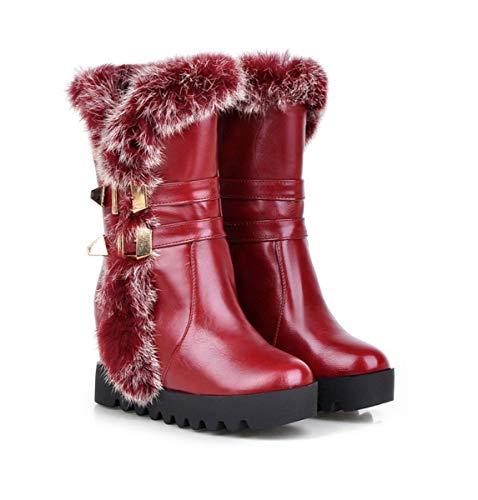 DANDANJIE Damen Stiefel Fashion Cute Mid-Calf Stiefel mit Keilabsatz Schnalle warme Schuhe für den Winter im Freien (Farbe : Rot, Größe : 35 EU) - Braun Mid Calf High Heel