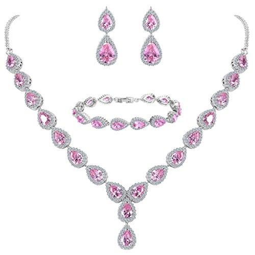 Clearine Damen Hochzeit Braut Tropfen CZ Unendlichekeit Figur 8 Y-Halskette Tennis Armband Dangle Ohrringe Set Pink Turmalin Farbe Silber-Ton