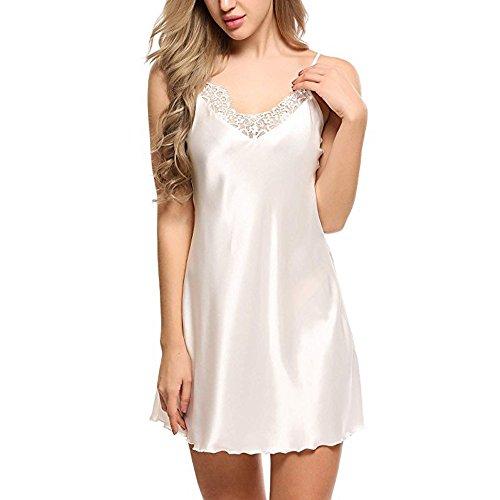 Proumy Vestido Dormir Sólido Pijama Encaje Mujer