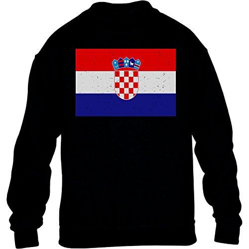 Fantrikot Nationalmannschaft Kroatien WM Kinder Pullover Sweatshirt L 134/146 Schwarz