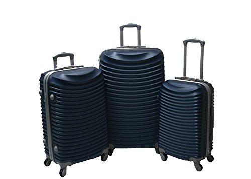 JustGlam - Set 3 Trolley set2030, valige rigide in ABS policarbonato, bagaglio piccolo da cabina, chiusura con lucchetto/blu