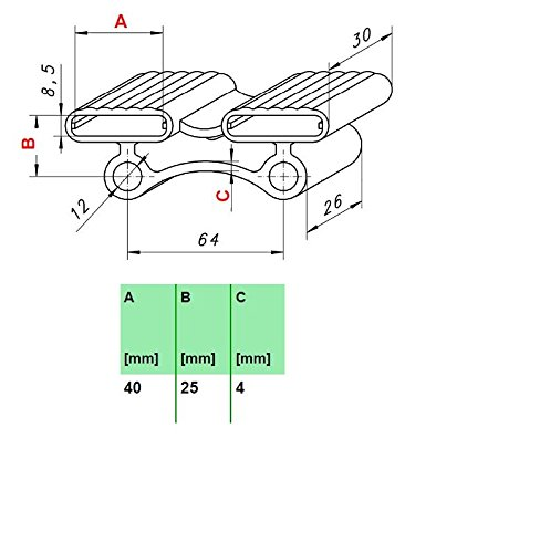 10 Kautschukkappen in grau/schwarz mit befestigungs Lasche 10er Paket viele Varianten (40x30x8,5 mm Breite x Tiefe x Höhe (Duo))
