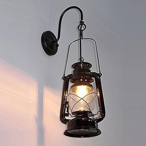 Linterna de vidrio antiguo Dormitorio colgantes apliques de queroseno clásico balcón Pasillo Restaurante El Candelabro de Pared metálica pintada Escalera Muro Creativo Accesorios de