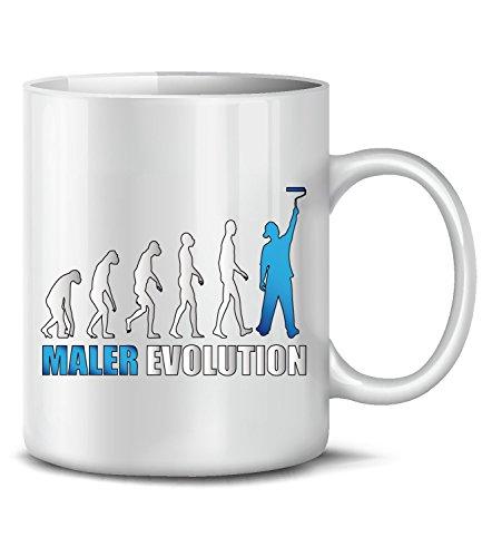 Golebros Maler Evolution Handwerker Beruf Baustelle Arbeit Job Tasse Becher Kaffee Geburtstags Geschenk Idee Mug Pott Artikel zubehör Lackierer Blau Weiß Mugs