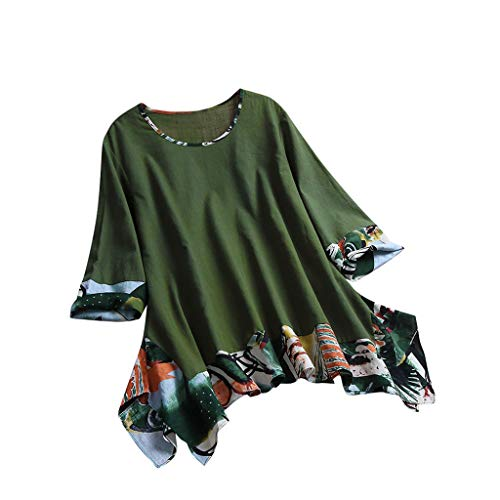 BCFUDA Bluse Frauen Retro Ethnische Sommer T-Shirt 3/4 Ärmel O Neck Print Bluse Bequem Casual Atmungsaktiv Strandhemd Elegant Dünn und Leicht Baumwolle und Leinen Tops