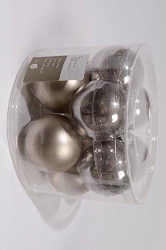 Palle di natale sfere palle di natale in vetro diametro: 60 mm woll grigio lucido/opaco, box con 10 pcs