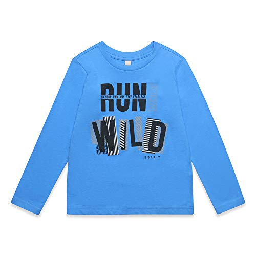 ESPRIT KIDS Jungen T-Shirt LS Langarmshirt, per Pack Blau (Azur Blue 443), 128 (Herstellergröße: 128+)