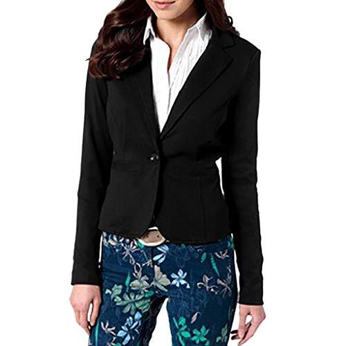 LUCKYCAT Mujer Manga Blazer Elegante Oficina Negocios Parte Traje De Chaqueta Slim Fit Abrigo Cardigan Outwear Blusa Top (Negro, Grande)