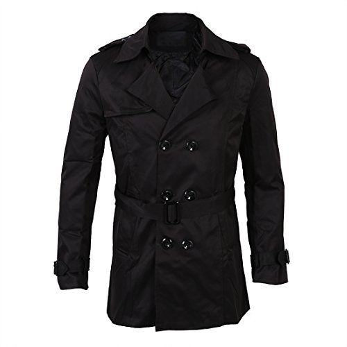 SODIAL(R) Hommes Hiver Mince Double Boutonnage Trench-Coat Veste Longue  Pardessus Manteaux d0ab2211b10a