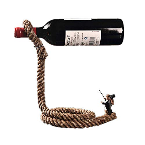 Vinteen Kreative Seil Rot Likör Rahmen Einfache Europäische Stil Weinflasche Regal Dekoration Handwerk Heimtextilien Wohnzimmer Weinkühler Put Stück Halterung