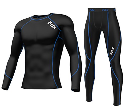 Kompressions-Shirt und Leggings von FDX, Baselayer für Herren Größe L Black/Blue SET (Top and Bottom)