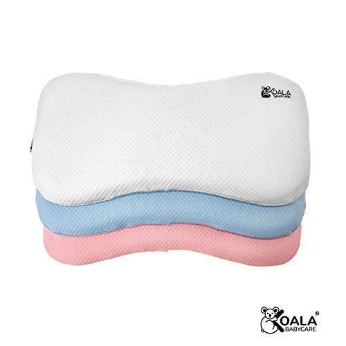 Cojín Ortopédico para bebe 0-36 Meses Plagiocefalia desenfundable por la cama (con dos cobertores) para prevenir y curar la Cabeza plana en Memory Foam Antiasfixia - KoalaBabycare® - Blanco - Maxi