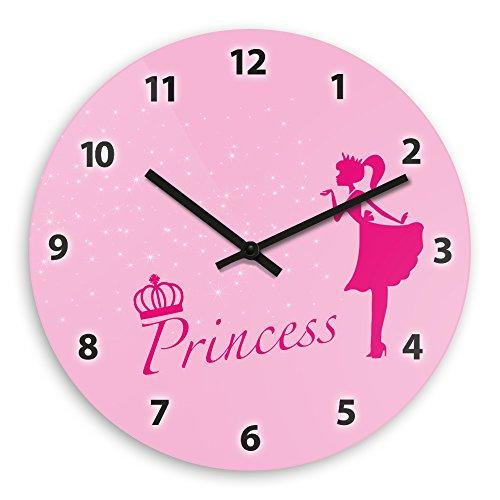 Wanduhr mit schönem Prinzessin-Motiv für Mädchen | Kinderzimmer-Uhr | Kinder-Uhr
