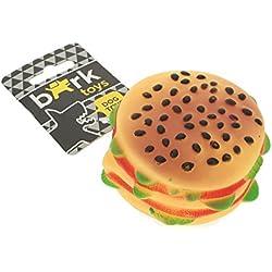 BARK - Juguete de vinilo en forma de hamburguesa doble carne para perros. Con sonido, flexible, lavable, resistente, juego independiente, masticar, morder. - MULTICOLOR
